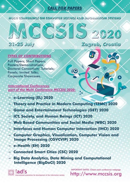Sudjelovanje na MCCSIS 2020 konferenciji
